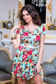 Летнее платье мини с цветочным принтом Angela Ricci со скидкой